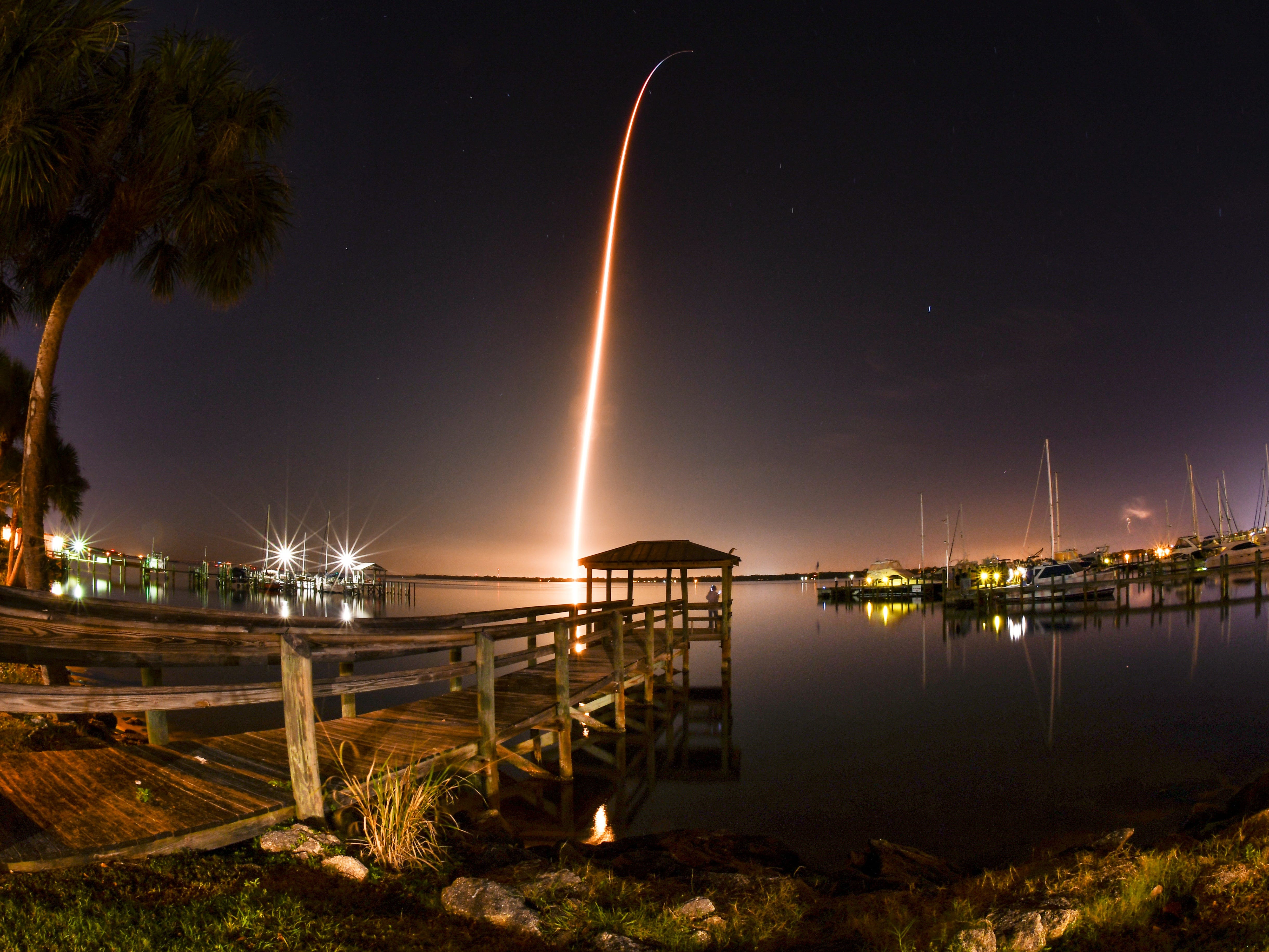 As seen from Cocoa: A SpaceX Falcon 9 rocket launches from Kennedy Space Center with the Crew Dragon spacecraft on Saturday, March 2, 2019.