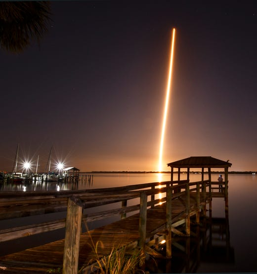 As can be seen from Cocoa: Launch of SpaceX rocket Falcon 9 and crew Dragon Dragon on Saturday, March 2, 2019, from Kennedy Space Center.