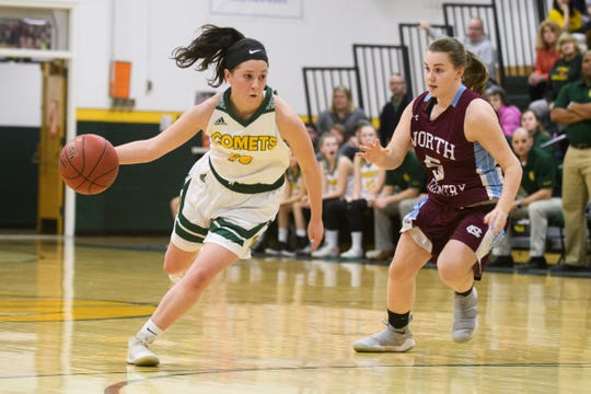 BFA's Leah Larivee (10) dribbles the ball down the court past North Country's Madison Lanoue (5) during the girls quarterfinal basketball game between the North Country Falcons and the BFA St. Albans Comets at BFA High School on Friday night March 1, 2019 in St. Albans, Vermont.