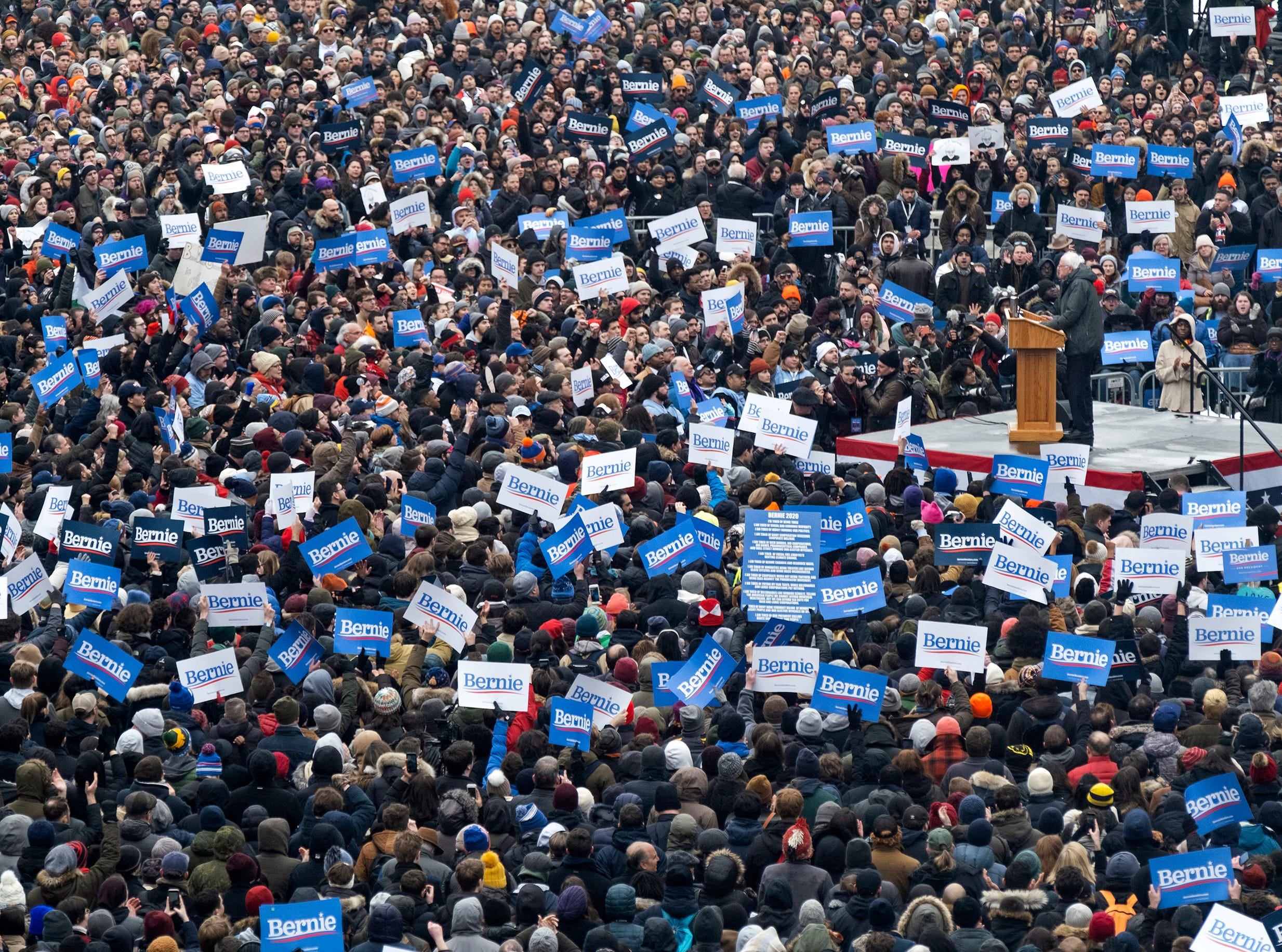 Sen. Bernie Sanders, I-Vt., is surrounded by supporters as he kicks off his second presidential campaign Saturday, March 2, 2019, in the Brooklyn borough of New York.