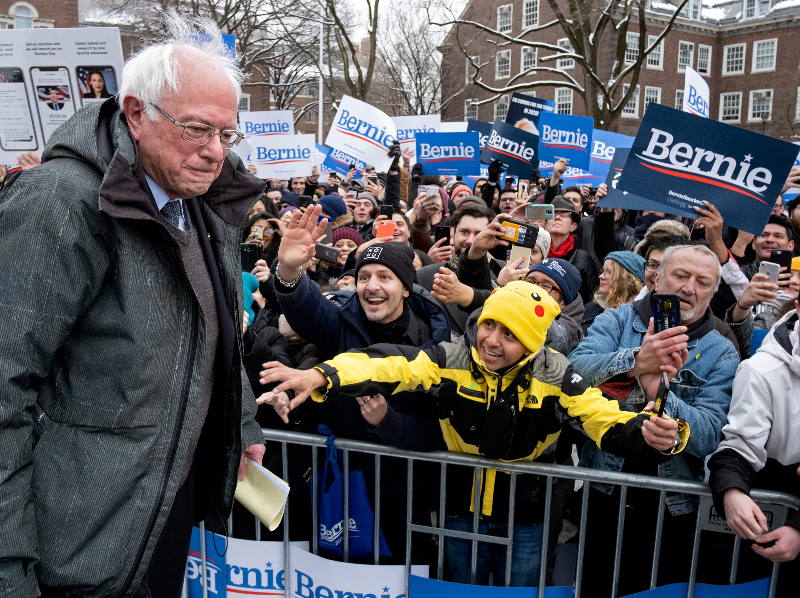 Sen. Bernie Sanders, I-Vt., greets supporters as he arrives to kick off his political campaign Saturday, March 2, 2019, in the Brooklyn borough of New York as he makes a bid for President of the United States in 2020, his second campaign for the office.