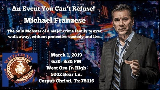 Michael Franzese event poster by the Nueces County Juvenile Justice Volunteers.