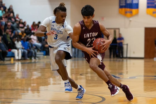 The Sinton Pirates play the Navasota Rattlers in the Region IV-4A tournament at the Steinke Physical Education Center in Kingsville on Friday, March 1, 2019.