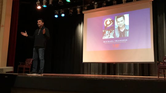 Michael Franzese, a former New York mafia underboss, talks to dozens of people at West Oso Junior High on Friday, March 1, 2019.