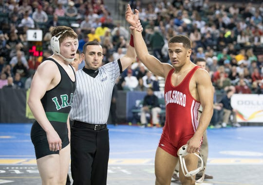 Paulsboro's Brandon Green, right, defeated Camden Catholic's Martin Cosgrove, 10-2,  in a 170 lb. semifinal round bout of the 2019 NJSIAA State Wrestling Championships tournament held at Boardwalk Hall in Atlantic City on Friday, March 1, 2019.