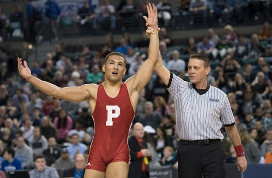 Paulsboro's Brandon Green celebrates his 13-9 win over Howell's Shane Reitsma during the 170 lb. championship bout of the 2019 NJSIAA State Wrestling Championships tournament held at Boardwalk Hall in Atlantic City on Saturday, March 2, 2019.