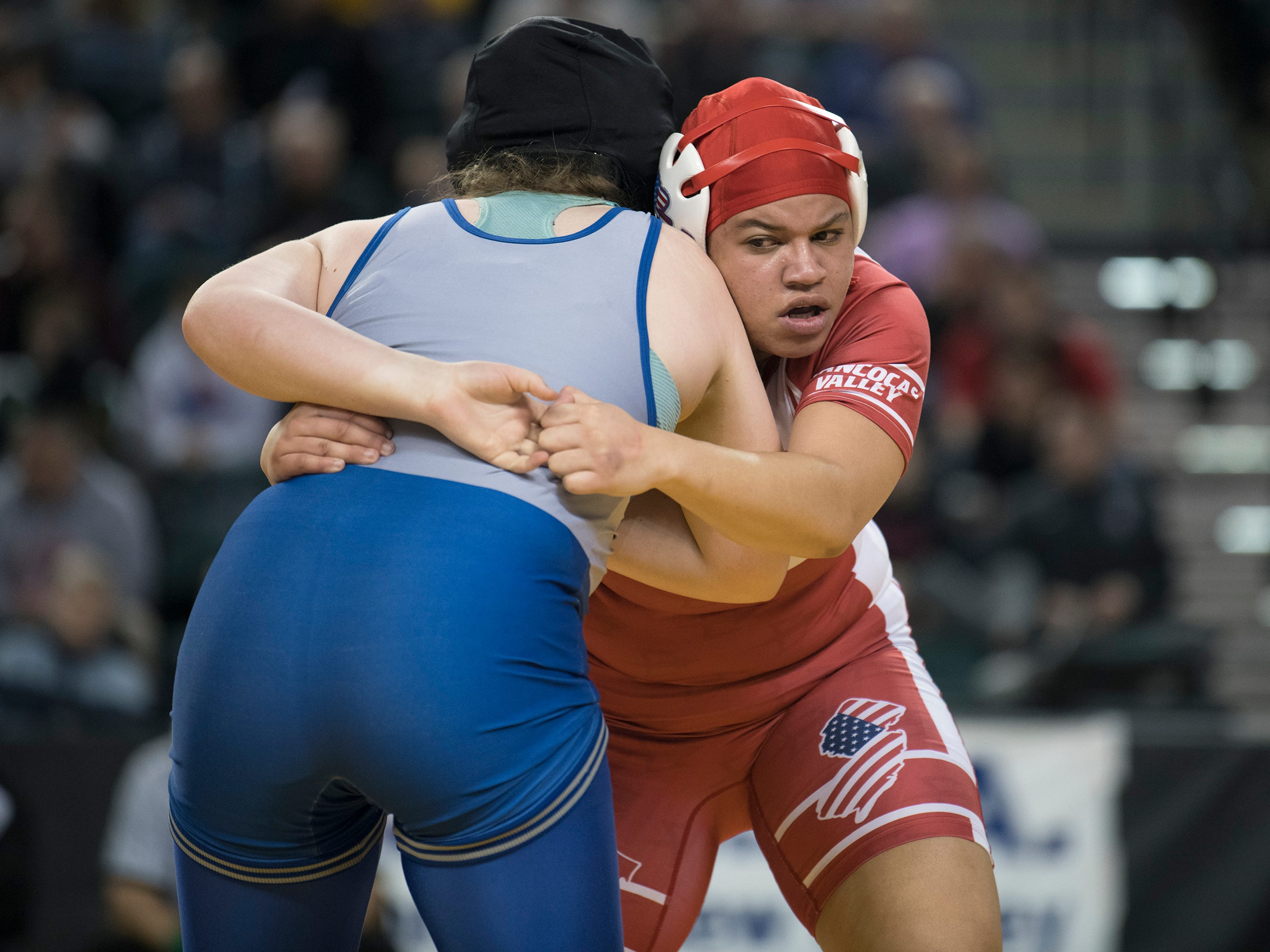 Rancocas Valley's Kaila Mungo, right, battles Kittatinny's Kiera Hubmaster for a take down during the 235 lb. championship bout of the 2019 NJSIAA Girls State Wrestling Championships tournament held at Boardwalk Hall in Atlantic City on Saturday, March 2, 2019.   Mungo defeated Hubmaster, 2-1.