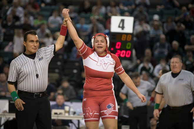 Rancocas Valley's Kaila Mungo reacts after defeating Kittatinny's Kiera Hubmaster, 2-1, in the 235 lb. championship bout of the 2019 NJSIAA Girls State Wrestling Championships tournament held at Boardwalk Hall in Atlantic City on Saturday, March 2, 2019.