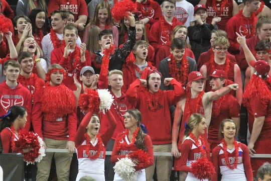 Dixie Heights students cheer their Colonels during the KHSAA 9th Region girls basketball semifinals March 2, 2019 at BB&T Arena, Highland Heights KY. Dixie Heights beat Highlands 42-39 and Ryle beat Notre Dame 51-34.