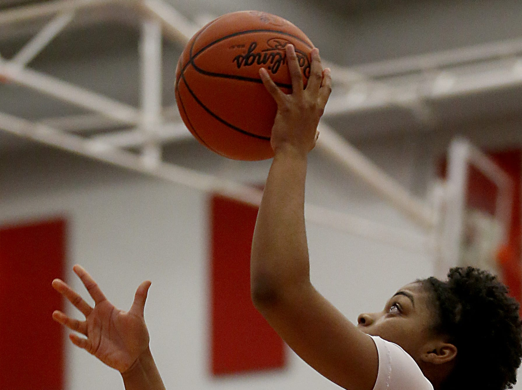 Mt. Notre Dame's Makira Cook puts in two against Kettering Fairmont during the Southwest District Girls Division I finals at Princeton High School in Cincinnati Saturday, March 2, 2019.