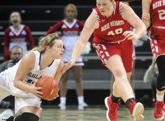 Highlands senior Chloe Jansen saves the loose ball against Dixie Heights senior Kaylee McGinn during the KHSAA 9th Region girls basketball semifinals March 2, 2019 at BB&T Arena, Highland Heights KY. Dixie Heights beat Highlands 42-39 and Ryle beat Notre Dame 51-34.