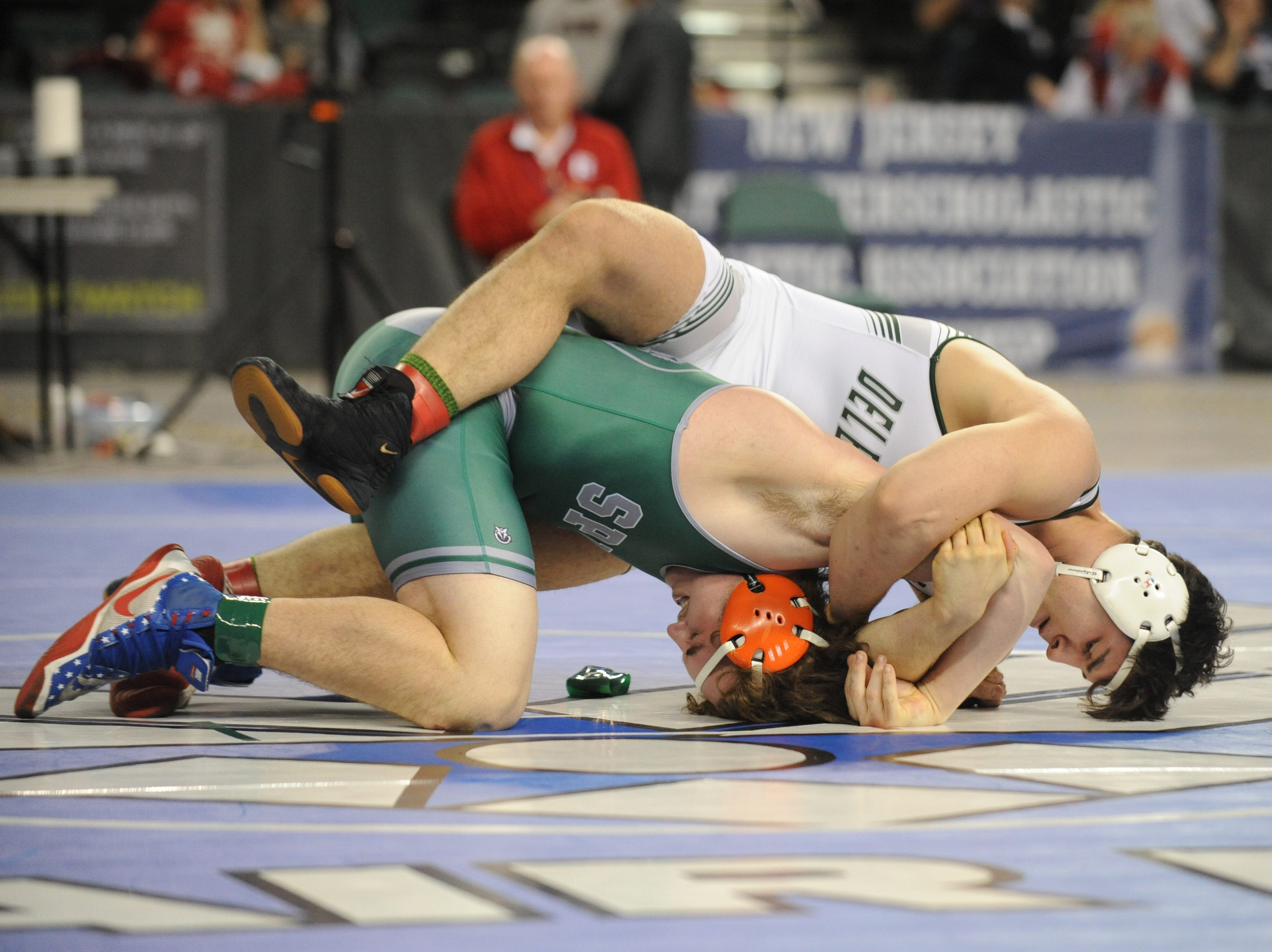 South Plainfield's Luke Niemeyer wrestles Delbarton's Luke Chakonis in a 195-pound 3rd place bout during the NJSIAA Individual Wrestling Championships at Boardwalk Hall in Atlantic City, Saturday, March 2, 2019.
