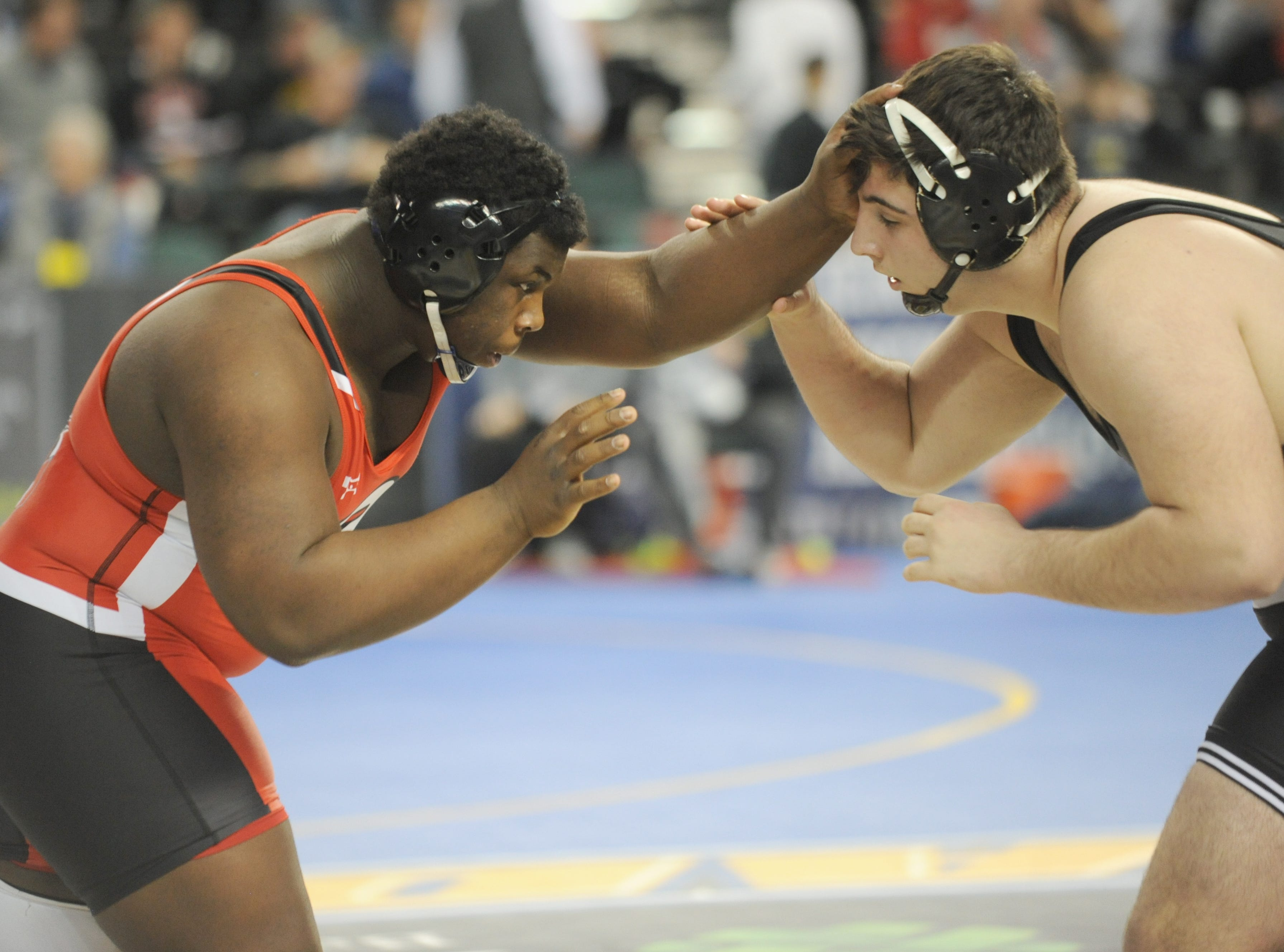 Bound Brook's Jervey Sistrunk wrestles West Essex's Bardhyl Gashi in a 285-pound quarterfinal bout during the NJSIAA Individual Wrestling Championships at Boardwalk Hall in Atlantic City, Friday, March 1, 2019.