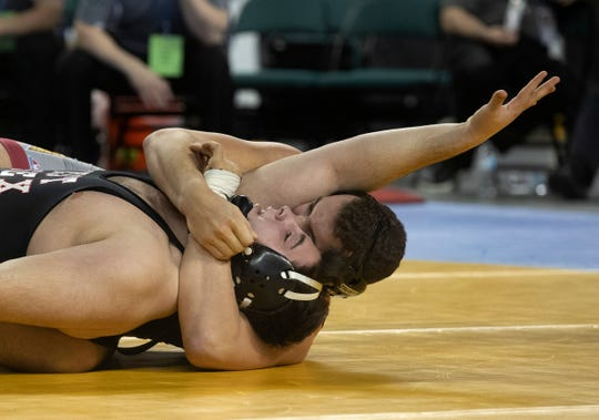 Lewis Fernandes, Voorhees pinned West Essex's Bardhyl in 19 seconds for the 285 lbs title. NJSIAA Boys State Wrestling finals on Saturday,  March 2, 2019 in Atlantic City.