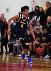 Colonia's Chad Baker moves the ball against Rahway during the NJSIAA North 2 Group III semifinals on Saturday, March 2, 2019 at Rahway High School.
