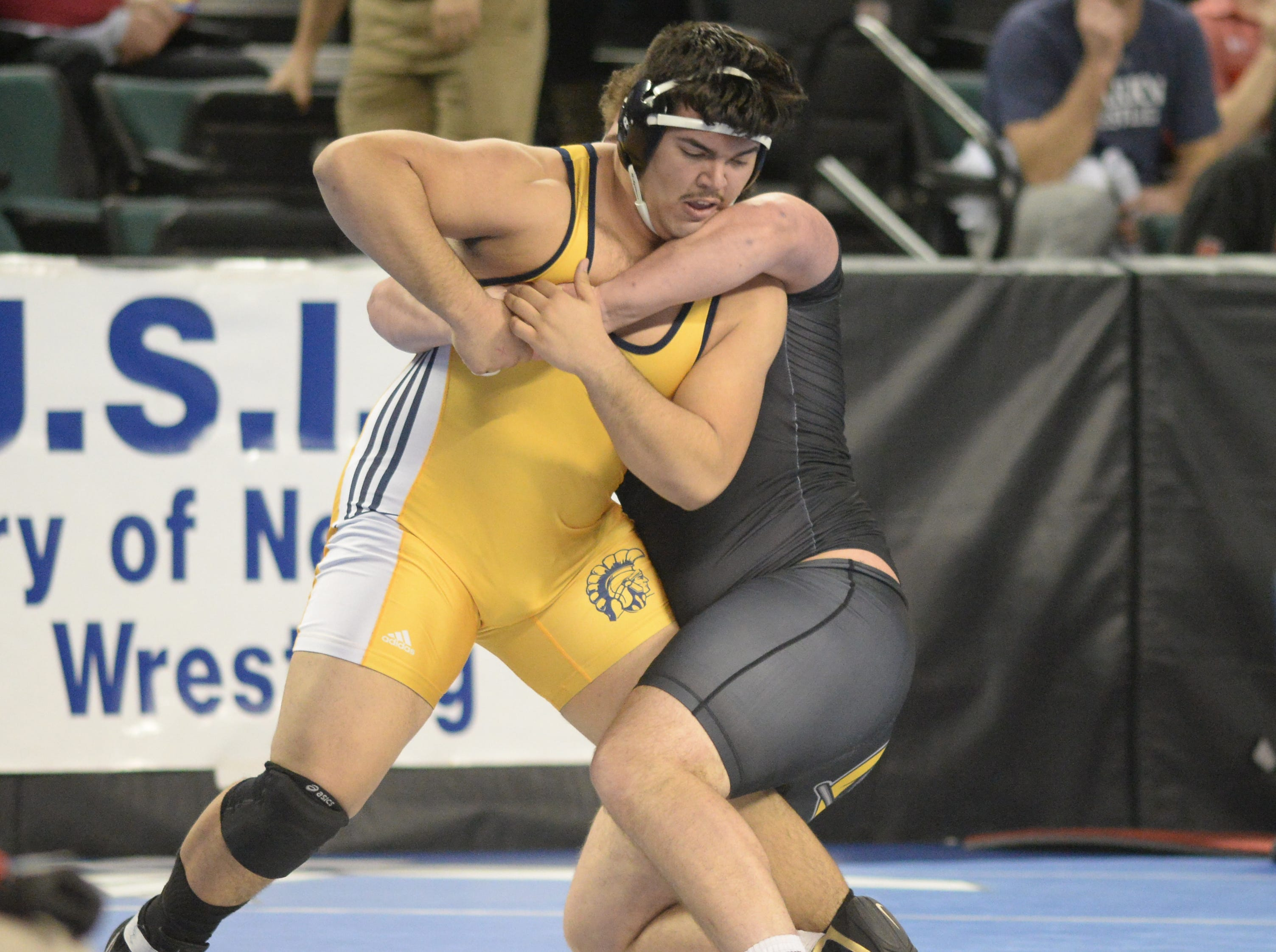 Franklin's Marcus Estevez wrestles St. John Vianney's Paul Liseno in a 285-pound quarterfinal bout during the NJSIAA Individual Wrestling Championships at Boardwalk Hall in Atlantic City, Friday, March 1, 2019.