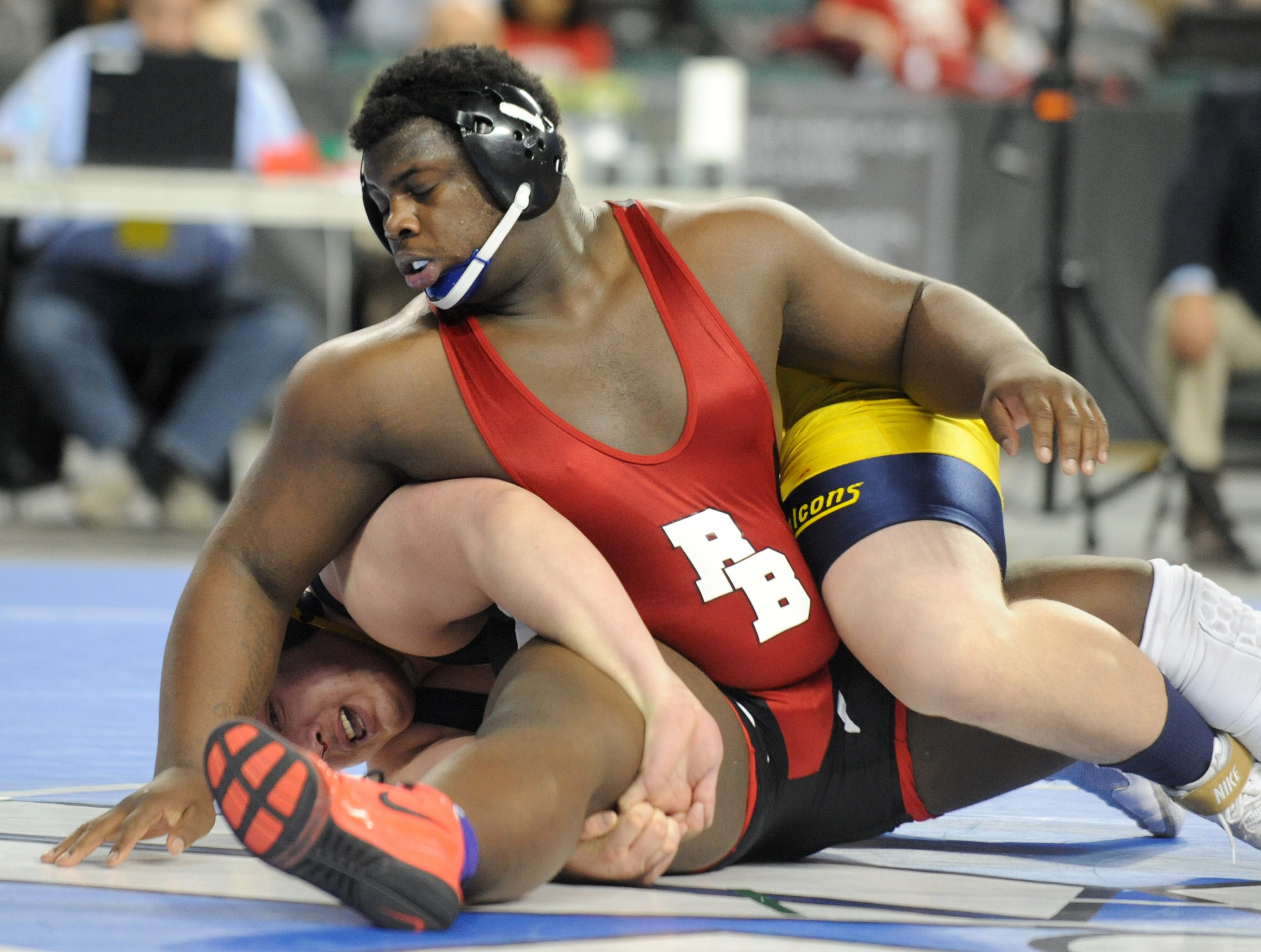 Bound Brook's Jervey Sistrunk wrestles Saddle Brook's Dean Setticase in a 285-pound 3rd place bout during the NJSIAA Individual Wrestling Championships at Boardwalk Hall in Atlantic City, Saturday, March 2, 2019.