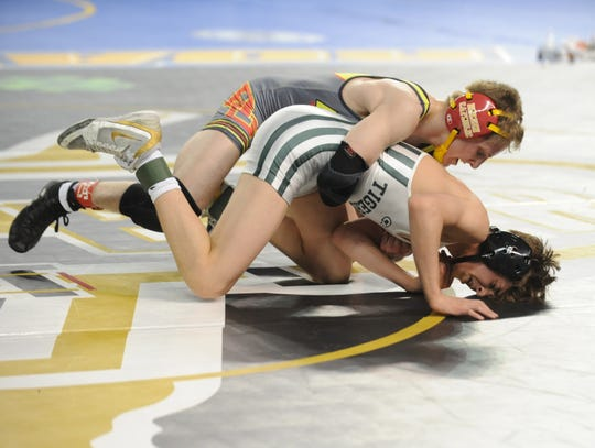 South Plainfield's Anthony White wrestles Bergen Catholic's Dylan Cedeno in a 120-pound quarterfinal bout during the NJSIAA Individual Wrestling Championships at Boardwalk Hall in Atlantic City, Friday, March 1, 2019.