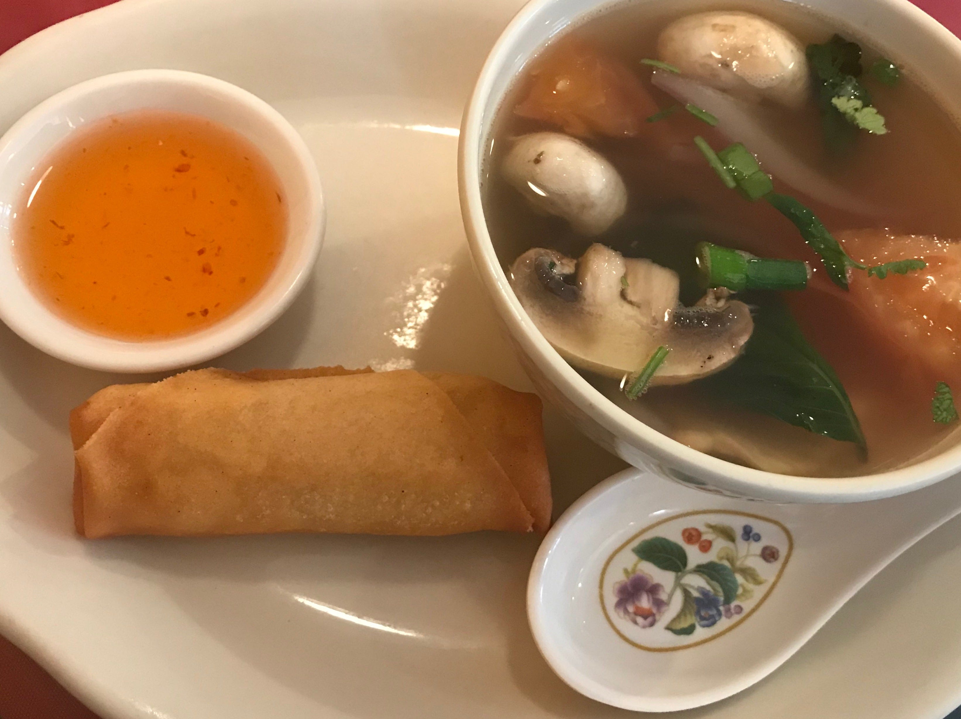 Zuzap Signature Soup, an herb soup with a tang to it, and an egg roll were the appetizer portion of a lunch special at Zuzap Thai Cuisine in Clive.