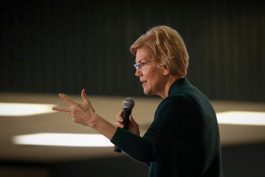 Democratic presidential hopeful Elizabeth Warren speaks to supporters and area Democrats during a town-hall style meeting at Central Middle School in Waterloo on Saturday, March 2, 2019.