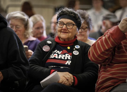 Ruth Walker, 78, of Cedar Falls, wears a t-shirt supporting Democratic presidential hopeful Elizabeth Warren during Warren's visit to Central Middle School in Waterloo on Saturday, March 2, 2019.