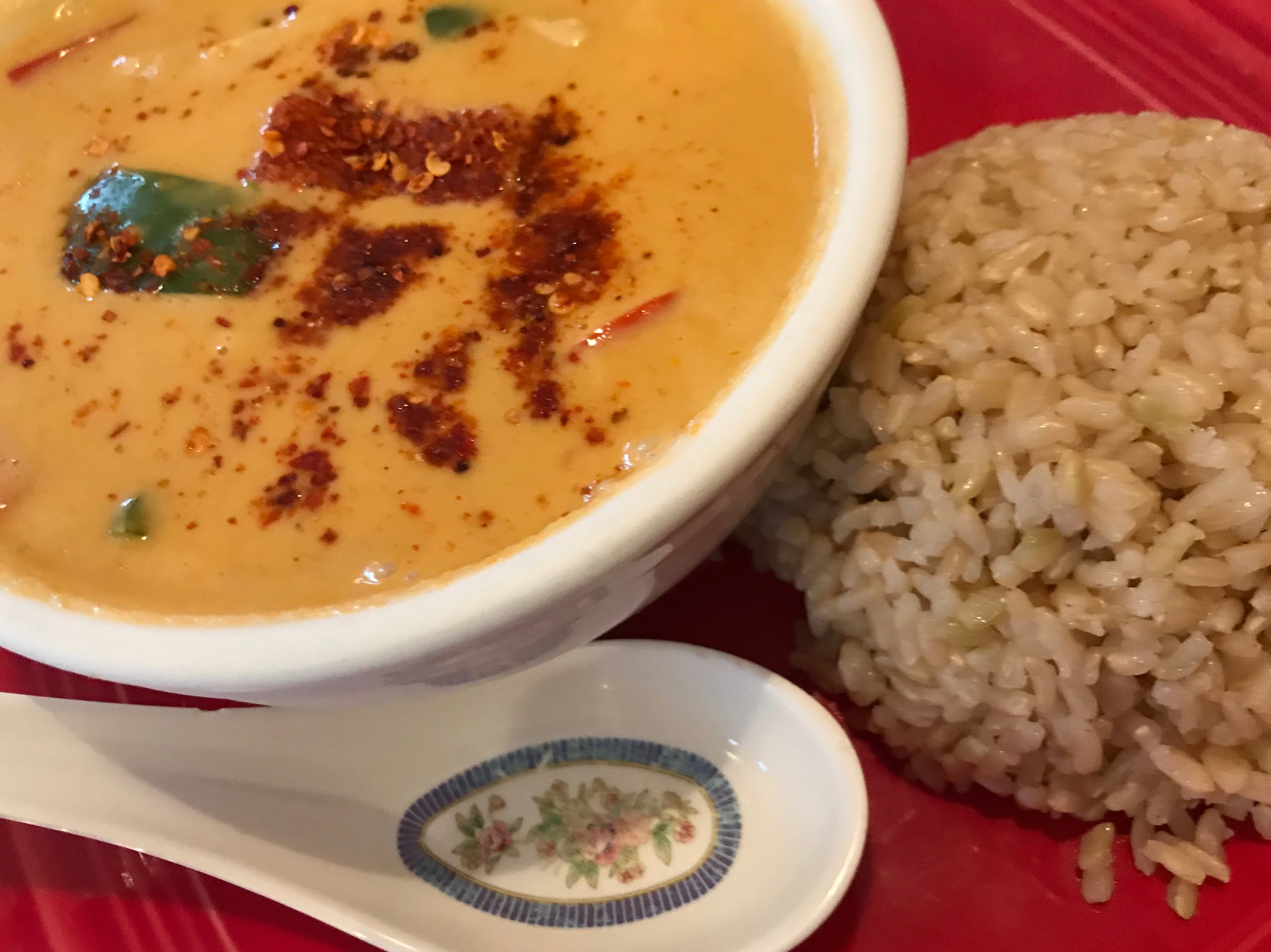 A lunch portion of pumpkin curry and brown rice at  Zuzap Thai Cuisine in Clive.