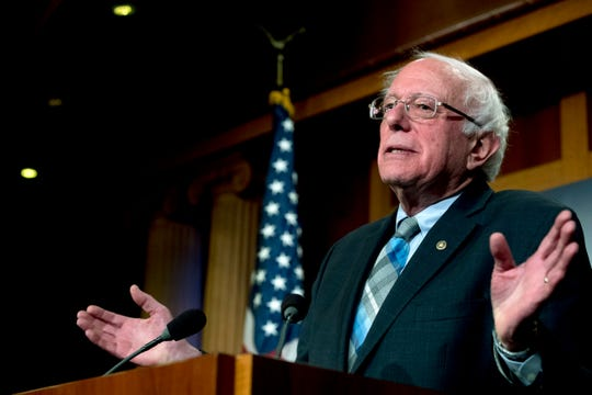 Sen. Bernie Sanders, I-Vt., speaks at a news conference on Capitol Hill in Washington in this Jan. 30, 2019, file photo. Sanders is working to convince Democratic Party faithful that he is one of them as he makes his second presidential bid. (AP Photo/Andrew Harnik, File)