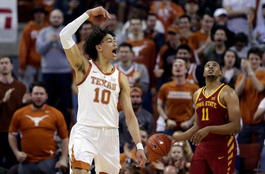 Texas forward Jaxson Hayes (10) celebrates after scoring against Iowa State during the first half of an NCAA college basketball game, Saturday, March 2, 2019, in Austin, Texas.