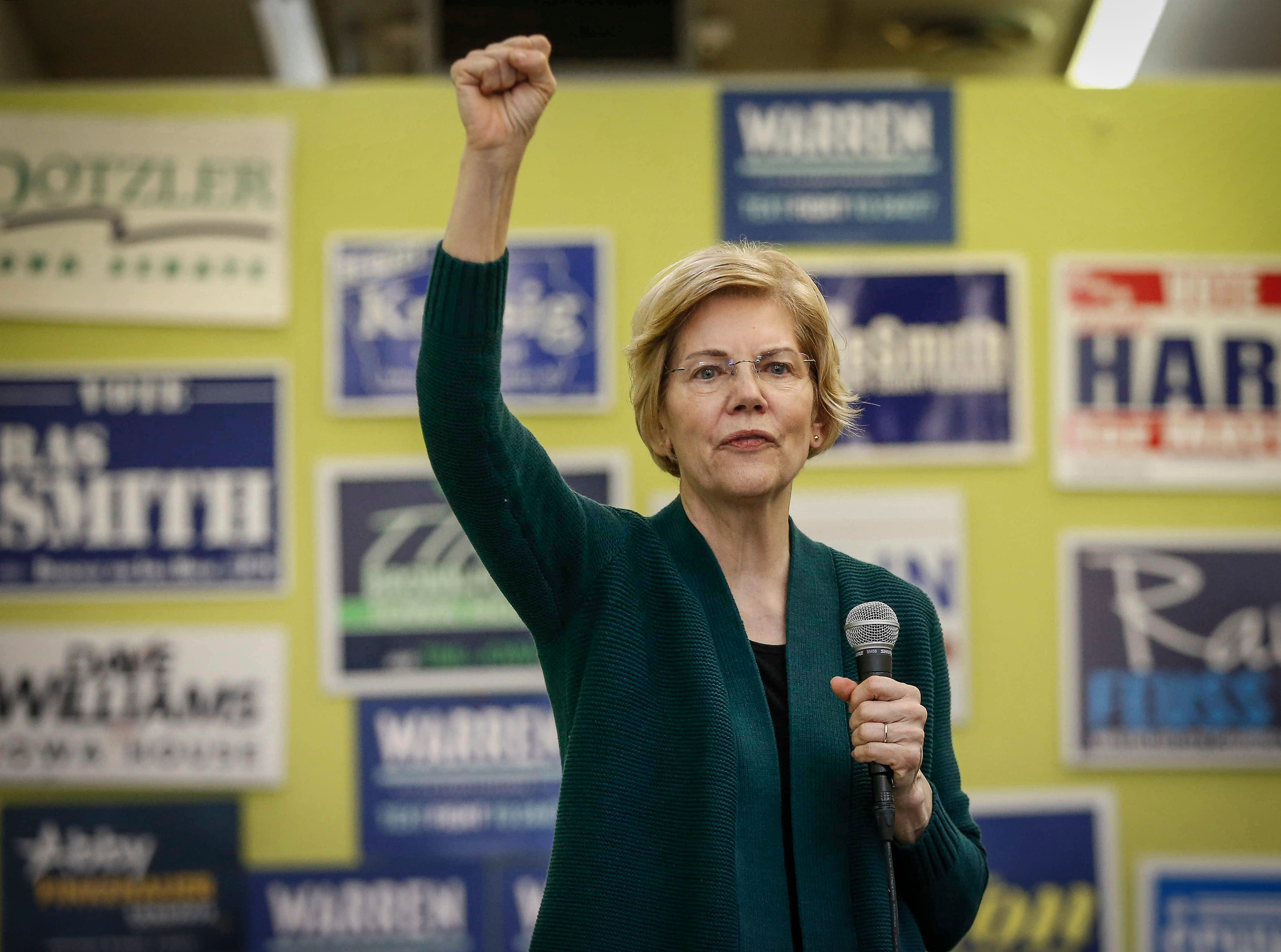 Democratic presidential hopeful Elizabeth Warren speaks to supporters at the Black Hawk Democratic headquarters in Waterloo on Saturday, March 2, 2019.