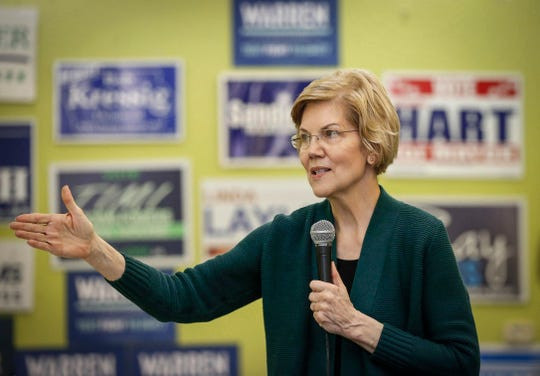 Democratic presidential hopeful Elizabeth Warren speaks to supporters at the Black Hawk Democratic headquarters in Waterloo on Saturday, March 2, 2019.