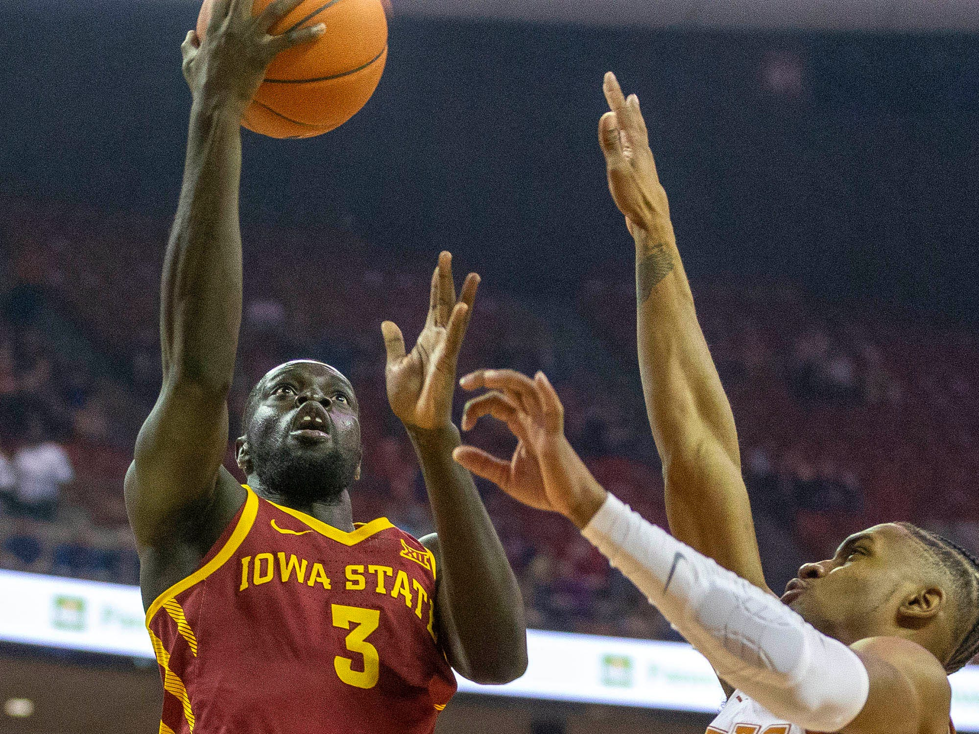 Mar 2, 2019; Austin, TX, USA; Iowa State Cyclones guard Marial Shayok (3) goes to the basket over Texas Longhorns guard Jase Febres (13) in the first half at Frank Erwin Center.