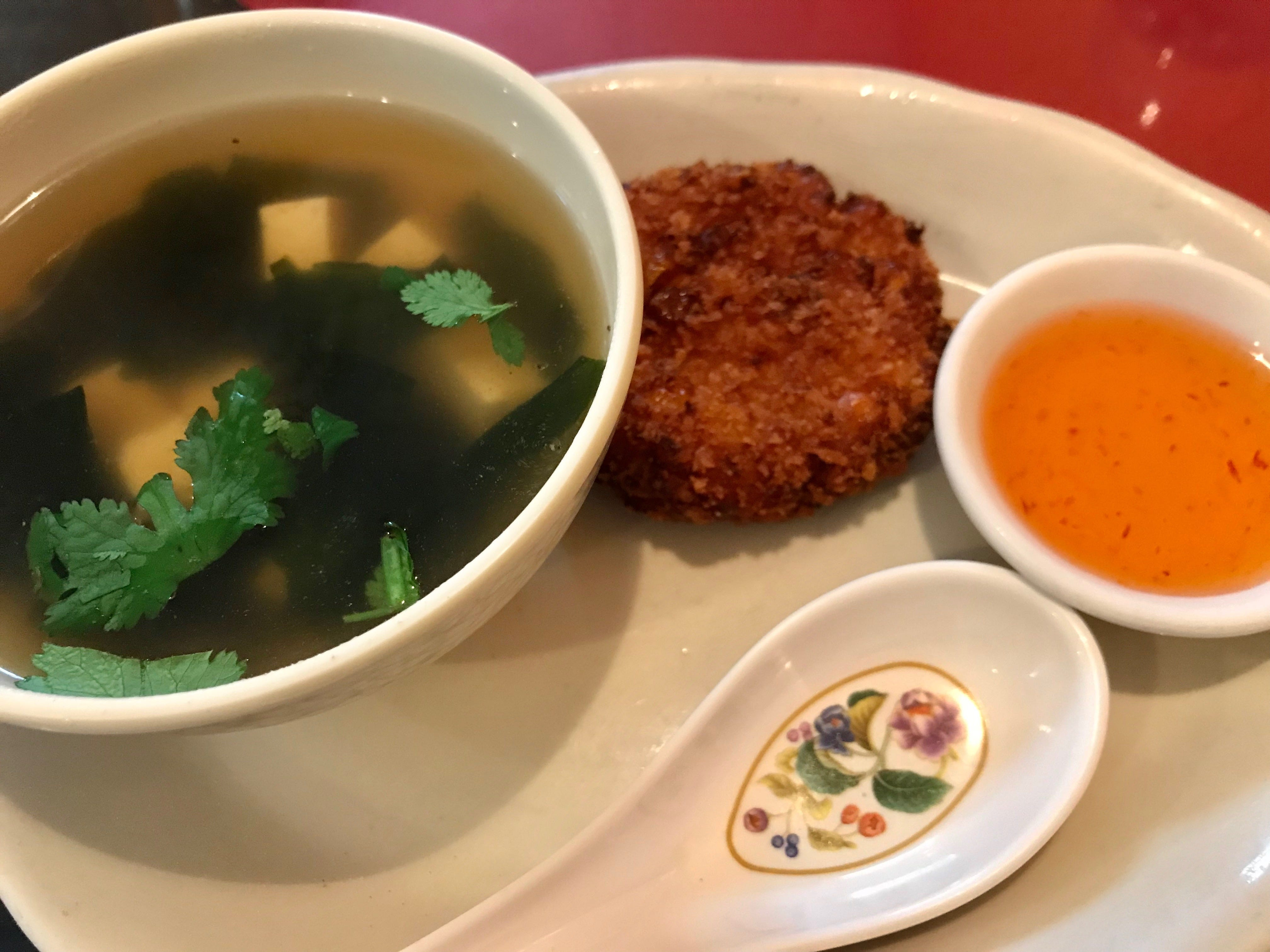 Sarai Talay, a seaweed soup, and Siam Sweet Corn Cakes come as an appetizer as part of a lunch special at Zuzap Thai Cuisine in Clive.