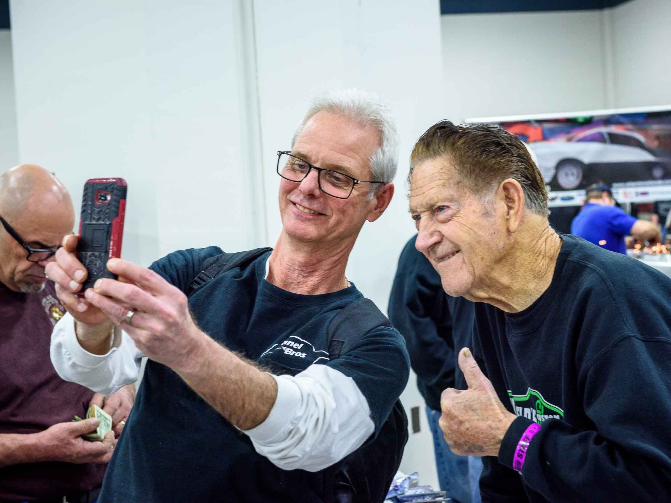 Roy Maitland drove 4 hours from Toronto, ON to attend Autorama 2019 at Cobo Hall takes a selfie with Legendary car customizer Gene Winfield March 2, 2019.