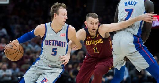 ce0dd4b640b Detroit Pistons guard Luke Kennard drives to the basket against Cleveland  Cavaliers guard Nik Stauskas during