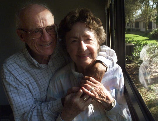 Detroit Tigers Hall of Fame broadcaster Ernie Harwell with his wife, Lulu Harwell, Feb. 24, 2002.
