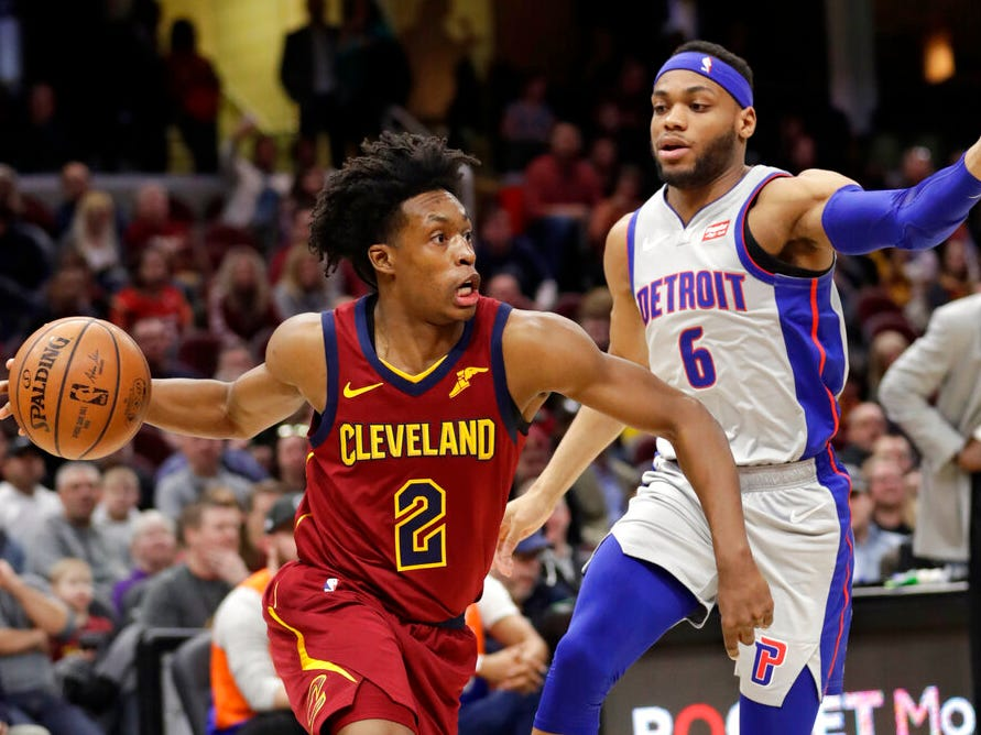 Cleveland Cavaliers' Collin Sexton (2) drives past Detroit Pistons' Bruce Brown (6) in the first half.