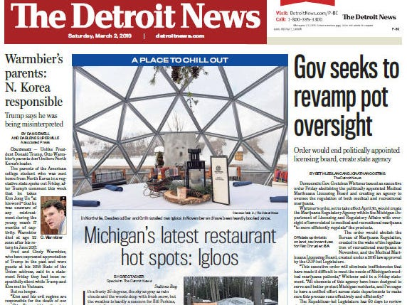 Front page of The Detroit News on Saturday, March 2, 2019.