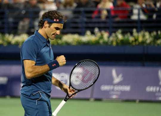 Roger Federer celebrates after winning the final match Saturday.