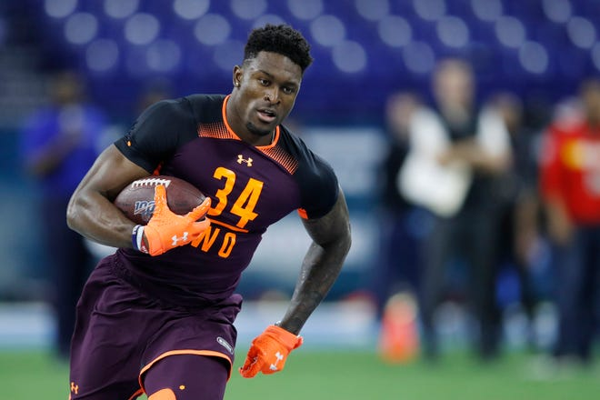 Wide receiver D.K. Metcalf of Ole Miss works out during the NFL Combine.