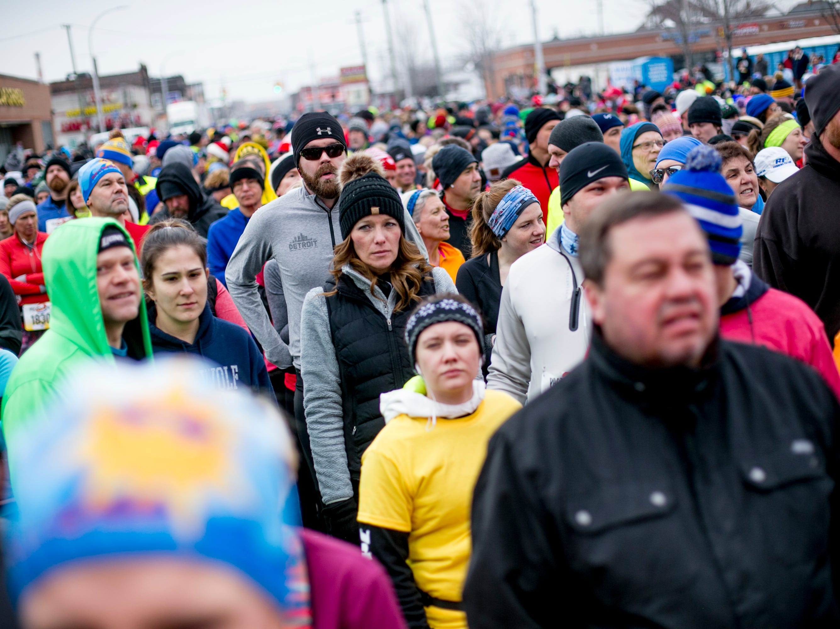 Runners line up at the Paczki Run in Hamtramck