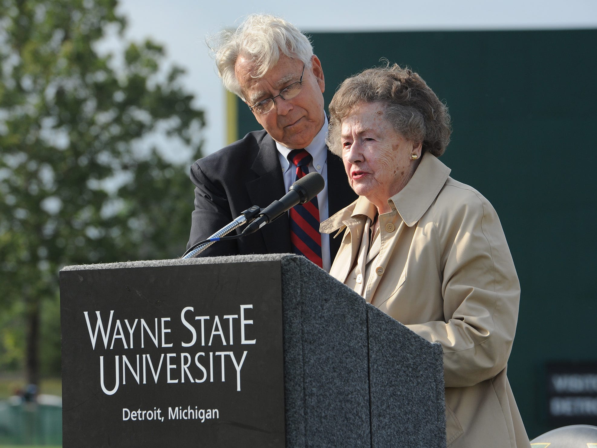 Gary Spicer, left, and Lulu Harwell at the Harwell Field groundbreaking at Wayne State in 2013.