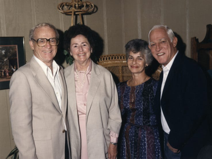 Lulu and Ernie Harwell with Sparky Anderson and wife Carol.