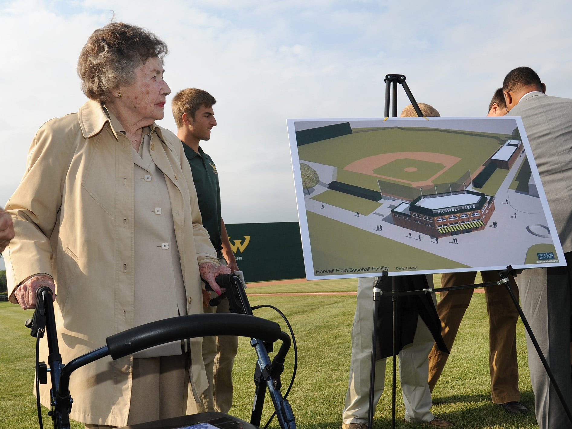 Lulu Harwell at the Harwell Field groundbreaking at Wayne State in 2013.