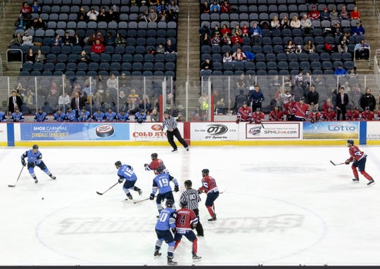 The Evansville Thunderbolts take on the Quad City Storm at the Ford Center during a game in April.