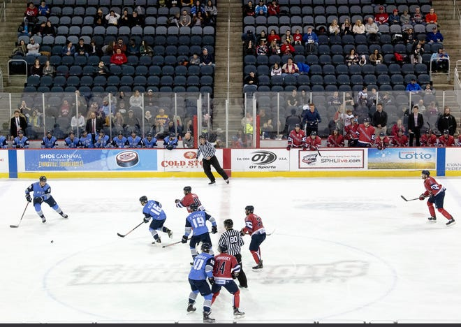The Evansville Thunderbolts take on the Quad City Storm at the Ford Center Friday night. Besides the die-hard fans, there were many empty seats for the 3-1 loss.