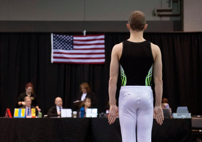 Extreme Trampoline team member Syler Buck, 15, of Kansas City, Mo., prepares to compete in the trampoline competition at the VIP Classic at the Old National Events Plaza Friday afternoon.