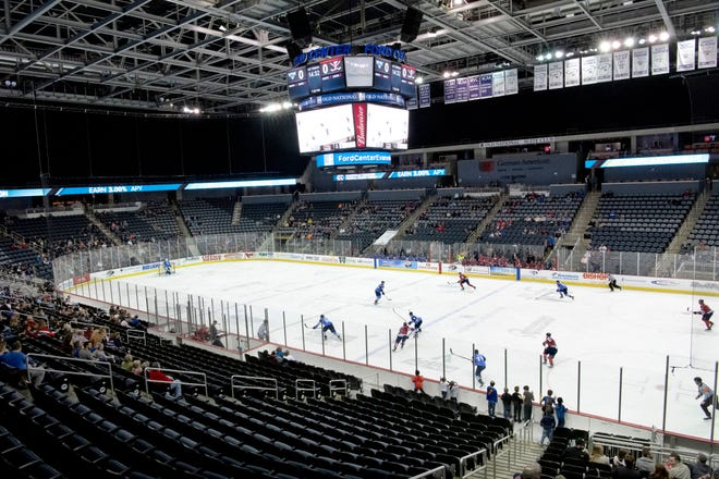 The Evansville Thunderbolts take on the Quad City Storm at the Ford Center Friday night. Besides the die-hard fans, there were many empty seats for the 3-1 loss.at the Ford Center Friday night.