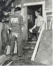 German POWs build a structure at a detention camp in Door County.