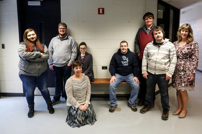 The Learning For Independence program 2019 graduates pose with a bench they made Thursday, February 28, 2019 at Moraine Park Technical College where the class is held. From left to right are Jabrielle Schnieder, Bryce Miller, LFI Instructor Jo Marchionda, Destiny Couey, Justin Greuel, Chasyn Fritch, Jordan McElroy and LFI Coordinator Chris Schultz. The bench is installed in the B wing of MPTC. Doug Raflik/USA TODAY NETWORK-Wisconsin