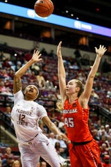 Florida State junior guard Nicki Ekhomu scored 12 points against Syracuse on Thursday night at the Tucker Center.